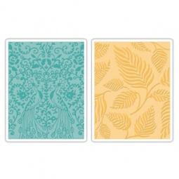 фото Форма для эмбоссирования Sizzix Textured Impression Павлины и листья