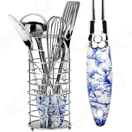 Набор кухонных принадлежностей Mayer&amp;amp;Boch MB-22015Наборы кухонных принадлежностей<br>Набор кухонных принадлежностей Mayer Boch MB-22015 придаст кухне элегантность, поднимет вам настроение своим цветочным узором и превратит приготовление еды в настоящее удовольствие. Этот профессиональный набор очень удобен в использовании и имеет стильную подставку, которая впишется в ваш интерьер, а удобные нескользящие ручки из термопластика защитят ваши руки от перегрева. Нержавеющая сталь высоких сортов, использованная в производстве набора, идеально подходит для приготовления пищи, приборы не окисляются со временем и не портят вкус ваших кулинарных шедевров. В наборе:  Лопатка с прорезями;  Картофелемялка;  Венчик;  Шумовка;  Вилка;  Половник;  Подставка.<br>