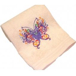 фото Полотенце подарочное с вышивкой TAC Babochka. Цвет: персиковый