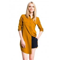 фото Рубашка Mondigo 5222. Цвет: горчичный. Размер одежды: 44