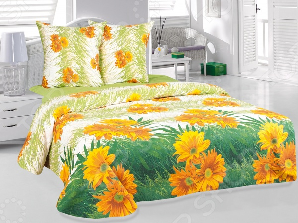 Комплект постельного белья Tete-a-Tete «Герберы». 1,5-спальный1,5-спальные<br>Комплект постельного белья Tete-a-Tete Герберы это постельное белье нового поколения , предназначенное для молодых и современных людей, желающих создать модный интерьер спальни и сделать быт более комфортным. Белье изготовлено из нежной бязи, что гарантирует здоровый и спокойный сон в любое время года, ведь этот материал обладает отличными дышащими , впитывающими и гигиеническими свойствами. При изготовлении постельного белья Tete-a-Tete используются устойчивые гипоаллергенные красители. Комплект постельного белья Tete-a-Tete Герберы очень легок в уходе. Вам не доставит хлопот его постирать, высушить и погладить. Белье не выцветает и не деформируется даже после 500 стирок. Плотность ткани составляет 140 г м2.<br>