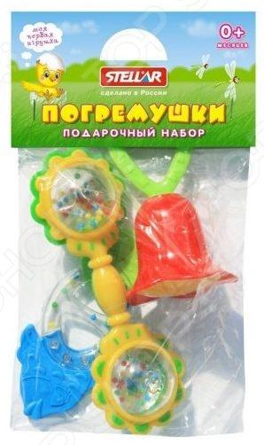 Набор игрушек-погремушек Стеллар «Подарочный набор №7»Погремушки. Подвески<br>Набор игрушек-погремушек Стеллар Подарочный набор 7 замечательный подарок для маленьких деток. Даже в раннем возрасте ребенку нужны игрушки, поскольку способствуют развитию важных навыков моторика, внимание, мышление и цветовое восприятие . Погремушка идеальный выбор для малыша, ведь она разработана с учетом возрастных особенностей и абсолютно безопасна. Набор содержит 3 предмета: кольцо с шариками внутри и с прорезывателями в виде рыбьей головы и хвоста, колокольчик, штанга .<br>