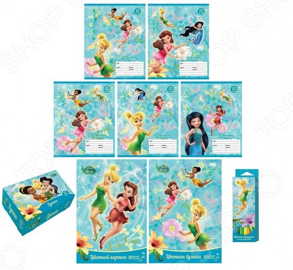 Набор для творчества Disney «Феи» 30230Роспись<br>Набор для творчества Disney Феи 30230 оригинальный и необычный набор для юных школьниц. Особенность данного набор заключается в том, что в его комплектации не только тетради с плотными страницами и обложкой из мелованной бумаги с глянцевым лаком, но и набор цветной бумаги, цветной и мелованной картон, толстые карандаши 6 ярких цветов и гуашь 12 цветов. С таким комплектом принадлежностей ваша маленькая художница сможет попробовать себя в разных стилях и направлениях детского творчества. Весь набор выполнен из качественных и нетоксичных материалов, совершенно безопасных материалов.<br>