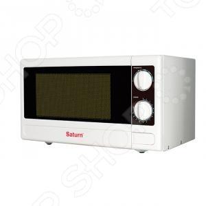 Микроволновая печь Saturn ST-MW 8168Микроволновые печи (СВЧ)<br>Микроволновая печь Saturn ST-MW 8168 необходимая вещь для современной кухни. Благодаря правильной регулировке может за считанные минуты разогреть блюдо и разморозить продукты. Это можно сделать с помощью переключателя режимов тепловой обработки. Таймер настраивается с помощью второго переключателя. Есть подсветка камеры при работе микроволновки. Воспроизводится звуковой сигнал по окончанию работы таймера. Оснащение:  Эмаль легко очищаемая поверхность.  Вращающийся столик делает возможным равномерное распределение микроволн.<br>