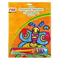 фото Набор для детского творчества Color Puppy «Пушистая картинка с блестками. Бабочка»