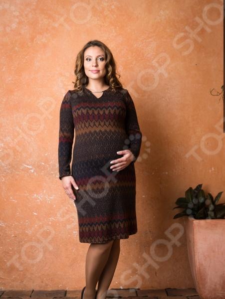 Платье для беременных Nuova Vita 2149.01. Цвет: сине-коричневый