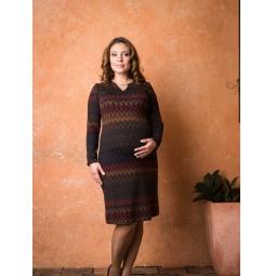 фото Платье для беременных Nuova Vita 2149.01. Цвет: сине-коричневый. Размер одежды: 46