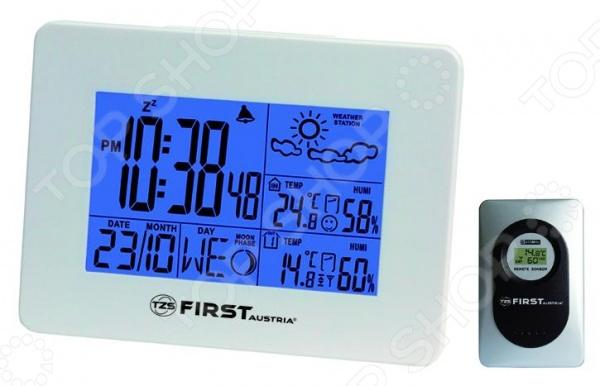 Метеостанция First 2461 полезный и функциональный прибор, позволяющий контролировать температурные изменения как внутри, так и вне помещения. Метеостанция позволяет измерять температуру в диапазоне от -20 до 60 градусов. Прибор позволяет подключить около 3 датчиков, которые будут максимально точно отображать погодные и атмосферные изменения. Метеостанция также располагает дополнительными функциями часов, будильника, обычного и лунного календаря. Данный прибор позволит всегда быть в курсе изменений погодных условий. Преимущества метеостанции First 2461:  удобный и интуитивно понятный дисплей;  можно использовать до трех беспроводных датчиков;  в комплекте идет один датчик;  стильный и современный дизайн.