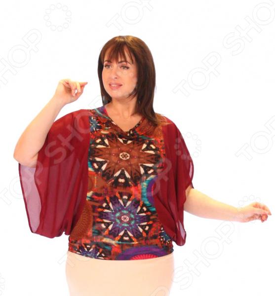 Блуза СВМ-ПРИНТ «Калейдоскоп». Цвет: бордовыйБлузы. Рубашки<br>Блуза СВМ-ПРИНТ Калейдоскоп это легкая и нежная блуза, которая поможет вам создавать невероятные образы, всегда оставаясь женственной и утонченной. Благодаря отличному дизайну она скроет недостатки фигуры и подчеркнет достоинства. Блуза прекрасно смотрится с брюками и юбками, а насыщенный цвет привлекает взгляд. В этой блузе вы будете чувствовать себя блистательно как на работе, так и на вечерней прогулке по городу. Универсальная длина на уровне бедра делает блузу одеждой на все случаи жизни, а прямой фасон, немного расклешенный к низу, поможет создать уникальный образ. Воротник-хомут, подчеркнет область шеи, а широкие шифоновые рукава придадут легкость и оригинальность образу. Швы обработаны текстурированными, эластичными нитями, благодаря чему швы тянутся и не натирают. Блузка выполнена из эластичного трикотажного полотна, которое отлично держит форму 92 полиэстер, 8 лайкра , благодаря чему материал не скатывается и не линяет после стирки. Благодаря вискозе кожа дышит и не преет. Уникальная модель, которую можно приобрести только на нашем телеканале!<br>