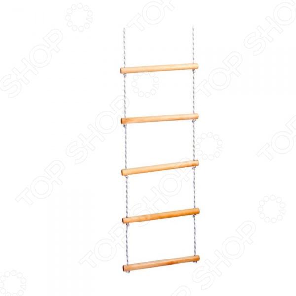 Лестница веревочная Plastep Л-Д5Домашние спортивные снаряды<br>Лестница веревочная Plastep Л-Д5 спортивный снаряд, который незаменимым для гармоничного физического развития вашего ребенка. Он способствует развитию ловкости, выносливости, цепкости, а также укреплению мышц рук, ног, спины и пресса. Ступени лестницы выполнены из прочного дерева, а сама конструкция способна выдержать до 70 кг веса. Такой спортивный снаряд будет отличным дополнением детского развивающего центра. Длина перекладины составляет 32 см.<br>