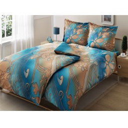 фото Комплект постельного белья TAC Punto. Семейный. Цвет: голубой