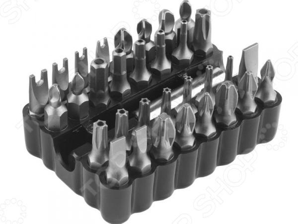 Набор бит Зубр «Мастер» 26046-H33Наборы бит и насадок<br>Набор бит Зубр Мастер 26046-H33 комплект сменных насадок для универсального монтажного инструмента. Биты изготовлены из высокопрочной хромомолибденовой стали и снабжены различными типами шлицев. Прецизионная заточка граней обеспечивает высокую точность и отличное качество выполняемых работ. Наличие специальных насечек предотвращает выскальзывание шлица из крепежа. Магнитный адаптер в комплекте.<br>