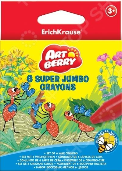Набор мелков восковых Erich Krause Super Jumbo ArtberryМелки<br>Набор мелков восковых Erich Krause Super Jumbo Artberry предназначен для таких маленьких, но уже таких любознательных малышей. Набор включает в себя 6 уникальных ярких мелков на основе пчелиного воска. При их изготовлении использовалась специальная формула, которая позволяет рисовать не только на шершавых поверхностях, но и на гладких, включая стекло и керамику. Благодаря идеальным размерам, весу и утолщенной форме корпуса, все изделия прекрасно лежат в маленьких детских руках. Набор поставляется в картонной коробке с европодвесом. Рисование мелками развивает усидчивость, фантазию, образное восприятие и логическое мышление. Кроме того, у ребенка тренируется зрительная координация и мелкая моторика рук. Не упустите шанс порадовать своего малыша замечательным подарком!<br>