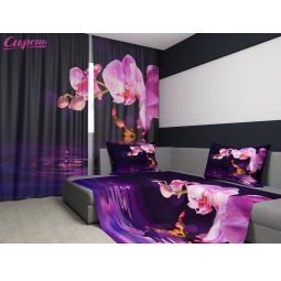 Комплект: фотошторы и покрывало Сирень «Орхидея над водой»