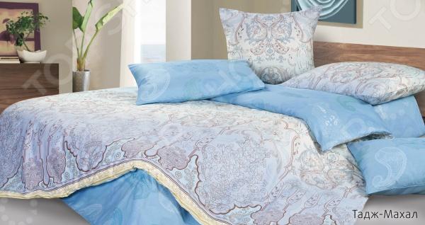 Комплект постельного белья Ecotex «Тадж-Махал». 2-спальный2-спальные<br>Комплект постельного белья Ecotex Тадж-Махал это незаменимый элемент вашей спальни. Человек треть своей жизни проводит в постели, и от ощущений, которые вы испытываете при прикосновении к простыням или наволочкам, многое зависит. Чтобы сон всегда был комфортным, а пробуждение приятным, мы предлагаем вам этот комплект постельного белья. Красивое оформление и высокое качество комплекта гарантируют, что атмосфера вашей спальни наполнится теплотой и уютом, а вы испытаете множество сладких мгновений спокойного сна. В качестве сырья для изготовления этого изделия использованы нити хлопка. Натуральное хлопковое волокно известно своей прочностью и легкостью в уходе. Волокна хлопка состоят из целлюлозы, которая отлично впитывает влагу. Хлопок дышит и согревает лучше, чем шелк и лен. Не забудем, что хлопок несъедобен для моли и не деформируется при стирке. Комплект постельного белья выполнен из ткани сатин-комфорт. Полотно имеет гладкую и шелковистую лицевую поверхность, не уступающую по качеству шелку. Кроме того, данный тип ткани сохраняет свою прочность и привлекательный вид даже после многочисленных стирок. Главное, соблюдать рекомендации по уходу от производителя. Необходимо стирать при температуре, указанной на ярлычке, с использованием порошка для цветного белья. Не следует прибегать к применению хлорсодержащих средств и отбеливателей. Желательно выворачивать белье наизнанку перед стиркой. Постельное белье относится к коллекции Гармоника , сочетающей в себе свежие дизайнерские решения и высококачественные материалы.<br>