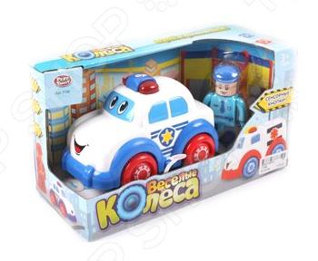 Машинка игрушечная PlaySmart «Веселые колеса» Р41423Машинки<br>Машинка игрушечная PlaySmart Веселые колеса Р41423 предназначена для малышей от 1 года. Модель создана в забавном, красочном стиле. У нее веселые глазки, большие колеса, а кузов имеет округлые очертания, что очень нравится детям. Игрушка изготовлена из высококачественного ударопрочного пластика и оснащена световыми и звуковыми эффектами, что сделает игровой процесс еще более захватывающим. Яркий полицейский автомобильчик разнообразит игровые ситуации, откроет новые сюжеты для маленького автолюбителя и поможет развить мелкую моторику рук и воображение. Не упустите шанс порадовать своего малыша замечательным подарком!<br>