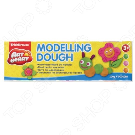 Пластилин на растительной основе большой Erich Krause Modelling Dough №2: 3 цвета