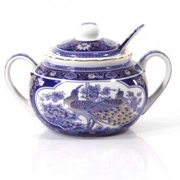 Купить Сахарница с ложкой Elan Gallery «Павлин синий» 180595