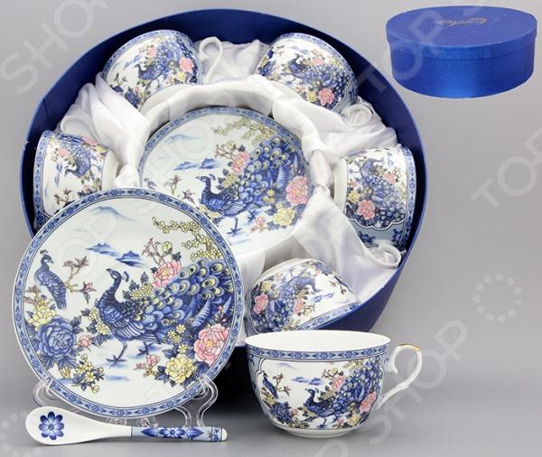Чайный набор с ложками Elan Gallery «Павлин на серебре»