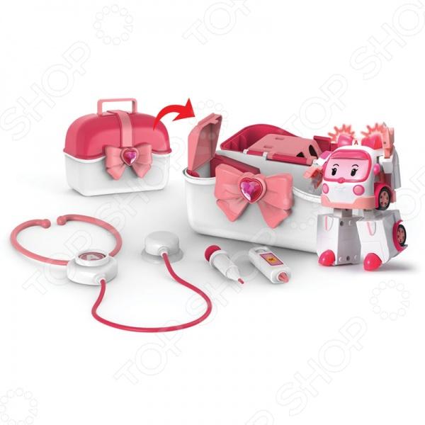 Кейс с трансформером Poli «Эмбер с аптечкой» 83074Игровые наборы для мальчиков<br>Кейс с трансформером Poli Эмбер с аптечкой 83074 оригинальный трансформер, который поможет в трудную минуту своей аптечкой. Выполнена игрушка из качественных безопасных для ребенка материалов. С её помощью можно придумать интересные сюжеты для игры. Игрушка способствует развитию воображения, пространственного мышления и мелкой моторики рук. Машинка складывается в кейс, который по совместительству является гаражом и хранилищем.<br>
