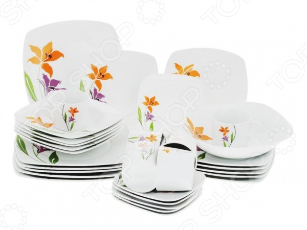 Сервиз обеденный Bekker BK-7275Наборы посуды для сервировки<br>Каждая хозяйка знает насколько важна в кулинарии сервировка и правильная подача блюд. От того как блюдо оформлено, в какой посуде подано и как смотрится на тарелке, зависит едва ли не половина вашего успеха. Сервиз обеденный Bekker BK-7275 это сочетание непревзойденного качества и стильного дизайна. Он станет прекрасным дополнением к комплекту ваших кухонных принадлежностей и подойдет для сервировки как обеденного, так и праздничного стола. Посуда выполнена из высококачественного белого фарфора и декорирована оригинальным цветочным рисунком. Сервиз рассчитан на шесть персон.<br>