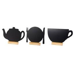 фото Набор: 3 доски для заметок на палке и маркер Securit «Тарелка, чайник, кружка»