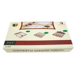 фото Игра настольная 3 в 1: шашки, шахматы, нарды Shantou Gepai W4018-H