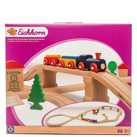 Купить Набор деревянной железной дороги Eichhorn с мостом и тупиком