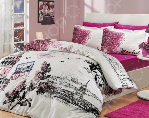 Комплект постельного белья Hobby Home Collection Istanbul Panaroma. Цвет: розовый. 2-спальный2-спальные<br>Как известно, треть своей жизни человек проводит во сне. Именно поэтому, то, насколько бодрым и активным будет ваше завтрашнее утро, напрямую зависит от того, насколько комфортным и полноценным был ваш ночной отдых. Не последнюю роль в этом, наряду с покупкой ортопедического матраса и удобной мягкой подушки, играет также и выбор качественного постельного белья. Стильно, комфортно, качественно Комплект постельного белья Hobby Istanbul Panaroma это сочетание стильного дизайна и прекрасного качества исполнения. Он не только внесет яркий акцент в интерьер вашей спальни, но и добавит ей индивидуальности и особого домашнего уюта. В набор входит пододеяльник, простыня и четыре, разные по размеру, наволочки.  Постельное белье выполнено из поплина ткани, отлично зарекомендовавшей себя в пошиве домашнего текстиля. Он на 100 состоит из хлопка и отличается легкостью, воздухопроницаемостью и устойчивостью к истиранию. Ткань отлично впитывает влагу, не электризуется и не скользит во время сна. По своим характеристикам поплин напоминает бязь, однако, на ощупь он гораздо более мягкий и гладкий. Постельное белье Hobby это:  натуральные гипоаллергенные ткани;  использование стойких нетоксичных красителей;  большой выбор дизайнов и расцветок. Ткани и готовые изделия производятся на современном импортном оборудовании и отвечают европейским стандартам качества. Стирать белье рекомендуется в деликатном режиме без использования агрессивных моющих средств.<br>