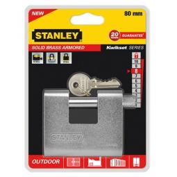 фото Замок навесной Stanley Sоlid Brass Armored. Размер: 80 мм
