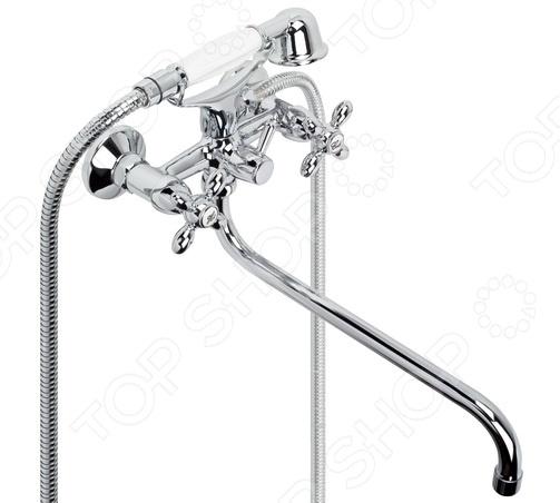 Смеситель для ванны и умывальника Argo Тurbo-MСмеситель для ванны и умывальника Argo Тurbo-M один из важнейших сантехнических приборов для вашей ванной комнаты. С его помощью вы всегда сможете легко настроить поток воды оптимальной температуры. Корпус изделия выполнен из латуни. Этот металлический сплав обладает превосходными эксплуатационными характеристиками: высокая прочность, устойчивость к воздействию влаги и постоянным перепадам температуры. Никель-хромированное покрытие смесителя выполняет не только защитную от коррозии, но и декоративную функцию. В комплекте душевой шланг 150 см, душевая лейка Duo .<br>