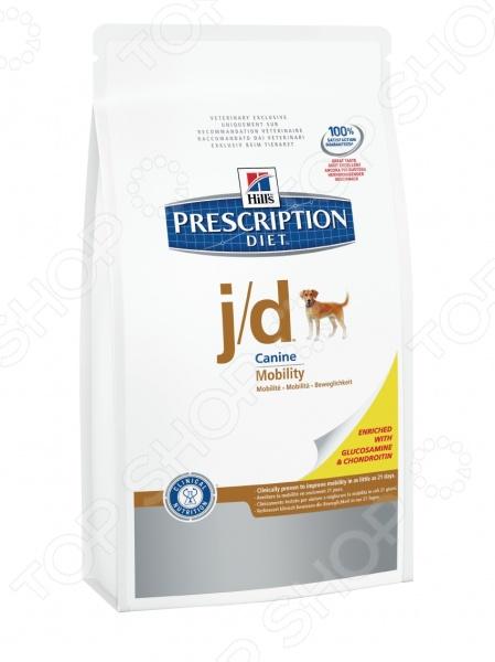 Корм сухой диетический Hill 39;s J D лечение заболеваний суставов предназначен специально для собак. Представленный вид питания разработан для тех питомцев, которые испытывают проблемы со здоровьем или находятся в группе риска. Тем не менее, ученым из компании Hill 39;s удалось сохранить прекрасные вкусовые качества корма, поэтому ваш четвероногий друг будет в восторге от своего нового блюда. Преимущества корма Hill 39;s Prescription Diet j d Canine Original:  Низкое соотношение Омега-6 и Омега-3 позволяют снизить боль в суставах;  Эйкозапентаеновая кислота помогает сохранить целостность хрящевой ткани;  Глюкозамин и Хондроитин сульфаты являются строительным материалом новой хрящевой ткани суставов прерывается цикл развития остеоартрита ;  L-карнитин усиливает преобразование жиров в энергию;  Лизин оптимизирует процесс сжигания жиров и укрепляет мышечную массу;  Подходит для пожилых собак;  Антиоксидантная формула нейтрализует действие свободных радикалов;  Система Фреш пак позволяет поддерживать качество рациона на высоком уровне. Клинические исследования показали, что применение Hill 39;s Prescription Diet j d Canine Original позволяет поддерживать метаболизм и здоровье суставов у собак. Уникальное соотношение витаминов, кислот и минералов позволит животному в самые короткие сроки почувствовать себя намного лучше, а уже через 21 день улучшит ее способность бегать, играть и подниматься по лестнице. Данный вид корма не подходит для:  Кошек;  Щенков;  Беременных и кормящих сук. Внимание! Рационы Hill 39;s Prescription Diet могут быть рекомендованы только ветеринарным врачом. Осуществляя покупку, вы подтверждаете, что осведомлены о необходимости получения рекомендации ветеринарного специалиста не реже, чем раз в 6 месяцев для применения данного рациона. Кормить собаку следует в соответствии со следующим руководством:      Вес кг     2     3     4     5     7.5     10     15     20     30     40     50     60       Сухой рацион г     45 - 60     60 - 80     75 - 100   