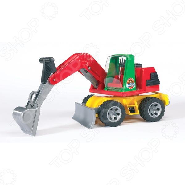 Машинка игрушечная Bruder «Экскаватор» ROADMAXМашинки<br>Машинка игрушечная Экскаватор ROADMAX представляет собой реалистичную копию настоящей строительной техники. Модель выпущена известной компанией по производству игрушек Bruder. Ее масштаб составляет 1:16. Экскаватор изготовлен из очень крепкого пластика и обладает отличной детализацией. Поворачивающаяся платформа, открывающаяся дверь кабины водителя, вместительный функциональный ковш и стрела с изменяемым углом наклона все это даст юному автомобилисту почувствовать себя настоящим строителем. Прорезиненные колеса с протектором не царапают напольное покрытие и не оставляют следов. Игра на детской площадке или в песочнице с таким трактором надолго займет малыша и не даст ему заскучать. Яркая машинка разнообразит игровые ситуации, откроет новые сюжеты для маленького автолюбителя и поможет развить мелкую моторику рук, логическое мышление и воображение. Не упустите шанс порадовать ребенка замечательным подарком!<br>