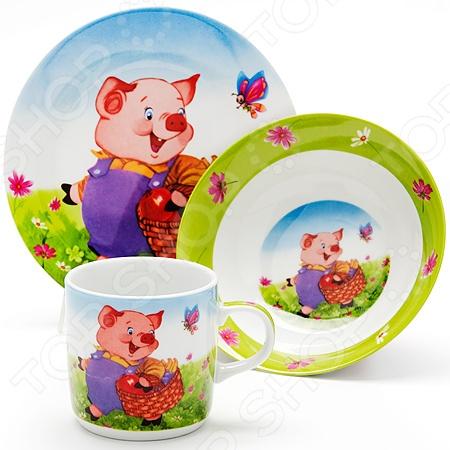 Набор посуды для детей Loraine LR-24019 «Поросенок»
