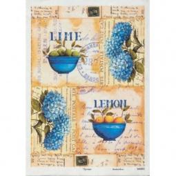 Купить Карта декупажная Кустарь «Гортензии и лимоны»