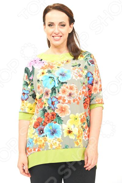 Блуза Элеганс «Селеста». Цвет: хакиБлузы. Рубашки<br>Блуза Элеганс Селеста это легкая и нежная блуза, которая поможет вам создавать невероятные образы, всегда оставаясь женственной и утонченной. Благодаря отличному дизайну она скроет недостатки фигуры и подчеркнет достоинства. Блуза прекрасно смотрится с брюками и юбками, а насыщенный цвет привлекает взгляд. В этой блузе вы будете чувствовать себя блистательно как на работе, так и на вечерней прогулке по городу. Свободный крой и универсальная длина до середины бедра делают блузу одеждой на все случаи жизни, а удобные короткие рукава 3 4 скрывают полноту плеч. Круглый вырез горловины, декорированный тесьмой, визуально удлинит горло и подчеркнет плавность черт. На фотографиях блуза представлена с брюками Лунная походка . Оригинальный принт блузы это не только элемент стиля. Он имеет важную функцию: яркая расцветка, отвлекает внимание от недостатков и облегчает силуэт. Это классический и эффективный прием, помогающий добиться гармоничных пропорций тела. Блуза изготовлена из мягкого трикотажа 85 полиэстер, 10 модал, 5 эластан , благодаря чему материал не скатывается и не линяет после стирки. Швы обработаны эластичными нитями, благодаря чему швы тянутся и не натирают. Это уникальная модель, которую можно приобрести только на нашем телеканале!<br>