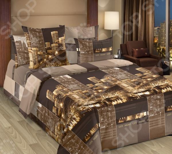 цена Комплект постельного белья Белиссимо «Сити». Цвет: коричневый онлайн в 2017 году