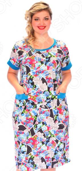 Платье El Fa Mei «Яркие розы»Повседневные платья<br>Платье El Fa Mei Яркие розы это легкое платье, которое поможет вам создавать невероятные образы, всегда оставаясь женственной и утонченной. Контрастное сочетание вертикальной полоски и крупного орнамента удачно подчеркивает достоинства фигуры. В этом платье вы будете чувствовать себя блистательно как на празднике, так и на вечерней прогулке по городу.  Универсальная длина ниже колена.  Два накладных кармана, декорированные пуговицами.  Короткие широкие рукава.  Круглый вырез горловины. Благодаря натуральному составу кожа дышит и не преет 100 хлопок . Материал прекрасно пропускает воздух и не задерживает влагу. Даже после длительных стирок и использования платье будет выглядеть прекрасно. Уникальная модель, которую можно приобрести только на нашем телеканале!<br>