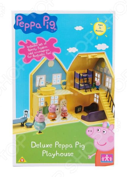 Игровой набор с фигурками Peppa Pig «Загородный дом Пеппы»Игровые наборы с персонажами мультфильмов, сказок и комиксов<br>Игровой набор с фигурками Peppa Pig Загородный дом Пеппы милая фигурка в комплекте с домиком и мебелью, который обязательно понравится всем маленьким поклонникам мультфильма про свинку Пеппу. Станет прекрасной основой для различных сюжетных игр, которые так любят дети. В набор входит большой двухэтажный домик размером 18,5х14,5х31,5 см в сложенном виде с мебелью и аксессуарами, разделенный на 6 игровых зон спальня, ванная комната, гостиная, кухня, обеденная зона, лужайка ; 4 фигурки всех членов семьи Пеппы мама 8,5 см, папа 10 см, Джордж 4 см, Свинка Пеппа 5,5 , у которых ножки двигаются вперед и назад вместе с устойчивой подставкой, к которой они прикреплены. Игра с ним способствует развитию зрительной координации, воображения, а также мелкой моторики рук ребенка. Кроме того, тренируется наблюдательность, образное восприятие и логическое мышление. Все детали игрового набора изготовлены из высокопрочного безвредного пластика.<br>