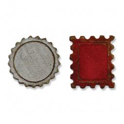 фото Форма для вырубки на магнитной основе Sizzix Movers & Shapers Die Крышка от бутылки и почтовая марка