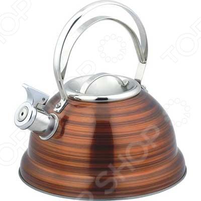 Чайник металлический Bekker BK-S428. В ассортиментеЧайники со свистком и без свистка<br>Товар продается в ассортименте. Цвет изделия при комплектации заказа зависит от наличия товарного ассортимента на складе. Чайник металлический Bekker BK-S428 оборудован свистком для определения закипания воды и изготовлен из высококачественной нержавеющей стали. Корпус из стали долговечен, не подвергается коррозии и обладает антиаллергенными свойствами. Фиксированная металлическая ручка эргономичной формы удобно ложится в ладонь. Широкое капсульное дно распределяет тепло равномерно по всей поверхности, что обеспечивает быструю скорость закипания воды и устойчивость изделия. Герметичная крышка не пропускает пар, поэтому вода долго остается горячей. Изящная форма чайника, яркий цвет и полированная поверхность придают ему эстетичности на столе.<br>