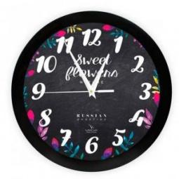 фото Часы настенные Вега П 1-6/6-299 «Цветы на чёрном»