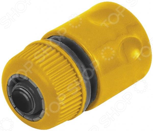 Соединитель универсальный быстросъемный КФКоннекторы и штуцеры для соединения шлангов<br>Соединитель универсальный быстросъемный КФ представляет собой надежное и практичное решение для быстрого и надежного соединения шланга с любыми элементами и насадками поливочной системы. Клапан аквастоп автоматически прекращает подачу воды, при отсоединении насадки. Модель выполнена из прочного пластика, что гарантирует длительный срок службы и хорошую износоустойчивость.<br>