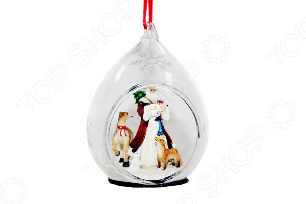 Елочное украшение со светодиодами Елочное украшение Crystal Deco «Санта с животными»