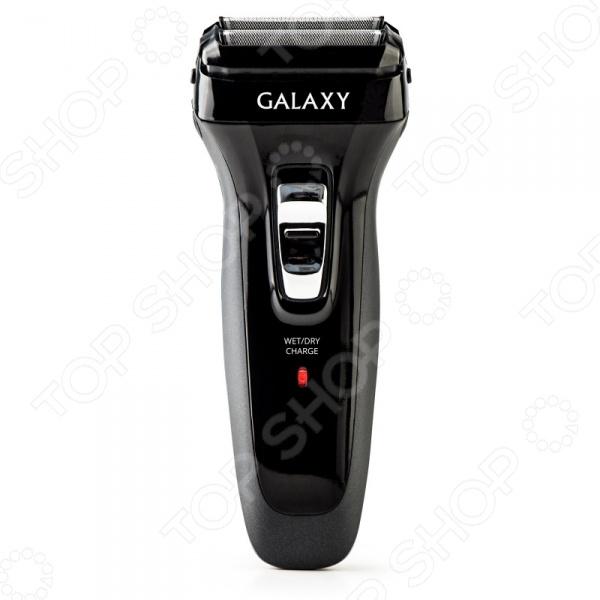 Электробритва Galaxy GL 4207Электробритвы<br>Сеточная электробритва Galaxy GL 4207 обеспечит вам гладкое и чистое бритье без раздражения кожи, жжения и порезов. Модель предназначена для сухого бритья, компактна и удобна в использовании. Электробритва оборудована аккумулятором, за счет чего ей можно пользоваться в автономном режиме время непрерывной работы составляет около 45 минут . Модель снабжена индикатором зарядки и встроенным триммером для подравнивания висков. Сетка бритвы выполнены из ультратонкой японской стали Есть возможность промывки блока ножей и бреющей сетки. Предусмотрена реверсивная работа ножей.<br>