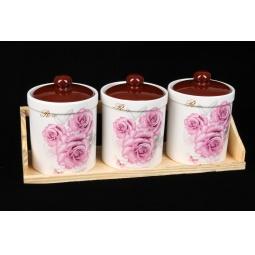 фото Набор банок с крышками Rosenberg 8099. Цвет: розовый, коричневый