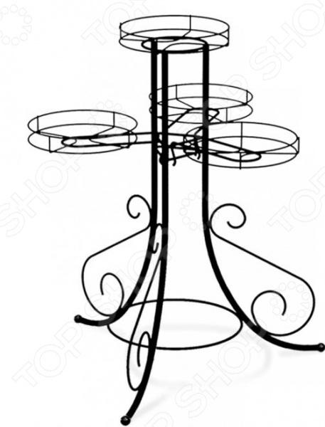 Подставка для цветов Sheffilton Грация 510 это мобильная подставка для цветов, которая может стать универсальным решением для любого помещения. Цветочница кованная, каркас сделан из металлической трубы D12 мм, прутка D5 мм , пластиковой фурнитуры D24 мм и чаш для горшков диаметром 190 мм. На подставке предусмотрено 4 мест для цветочных горшков. Максимальная нагрузка на корзину составляет 3 кг, есть возможность регулировать вид расположения кронштейнов. Подставка полностью разборная.