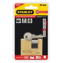 фото Замок навесной Stanley Sоlid Brass Bayonette. Размер: 50 мм