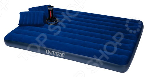 Матрас-кровать надувной с 2 подушками и ручным насосом Intex «Дауни» кровать intex comfort plush со встроенным насосом 220в intex 67766