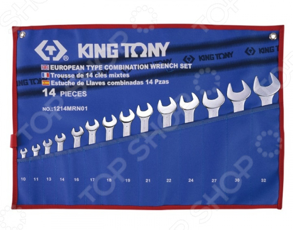 Набор ключей комбинированных King Tony KT-1214MRN01Комбинированные ключи<br>Комбинированные ключи представляют собой слесарные инструменты, используемые для ручного завинчивания и отвинчивания крепежных деталей. Они достаточно функциональны и находят применение в различных, как промышленных, так и бытовых областях. Продуманная конструкция и высокопрочные материалы Набор ключей комбинированных King Tony KT-1214MRN01 станет отличным дополнением к набору слесарных инструментов и пригодится при выполнении монтажных и демонтажных работ у вас дома, в гараже и на даче. Помимо этого, такой комплект также будет не лишним и на станциях техобслуживания, в производственных цехах и автослесарных мастерских. Ключи выполнены из легированной хромованадиевой стали. Данный металл отвечает всем требованиям стандартов и обеспечивает высокую надежность и износоустойчивость инструментов. Для обеспечения дополнительной прочности, ключи производятся методом горячей ковки с последующей термообработкой.  Среди особенностей предлагаемого набора стоит отметить:  Изгиб рожковой и накидной части ключей на 15 градусов обеспечивает удобство использования даже в местах с ограниченным доступом к крепежу.  Накидная часть инструментов имеет 12-гранный профиль, позволяющий работать с головками болтов и гаек как 6-ти, так и 12-гранного профиля.  Всегда под рукой Для удобства использования и быстрого доступа к инструментам, ключи упакованы в чехол с маркировкой размера. Он, в свою очередь, изготовлен из теторона материала на основе термопластика, отличающегося устойчивостью к воздействию кислот, щелочей и органических растворителей. Помимо прочего, по бокам чехла предусмотрены специальные проушины для крепления к рабочему стенду или к верстаку.<br>
